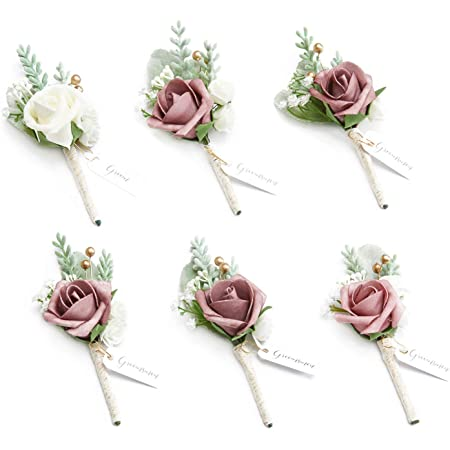 Ling's moment Dusty Rose Boutonniere for Men Wedding with Pins, Set of 6, Groom and Best Man Boutonniere for Wedding Ceremony Anniversary, Formal Dinner Party and French Rustic Fall Vintage Wedding