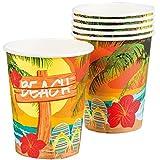Neu: 6 Becher * Strand und Sonne * für Eine Sommer-Mottoparty   Beach Hawaii Hibiskus Gartenparty Motto Party Pappbecher Partybecher Cups