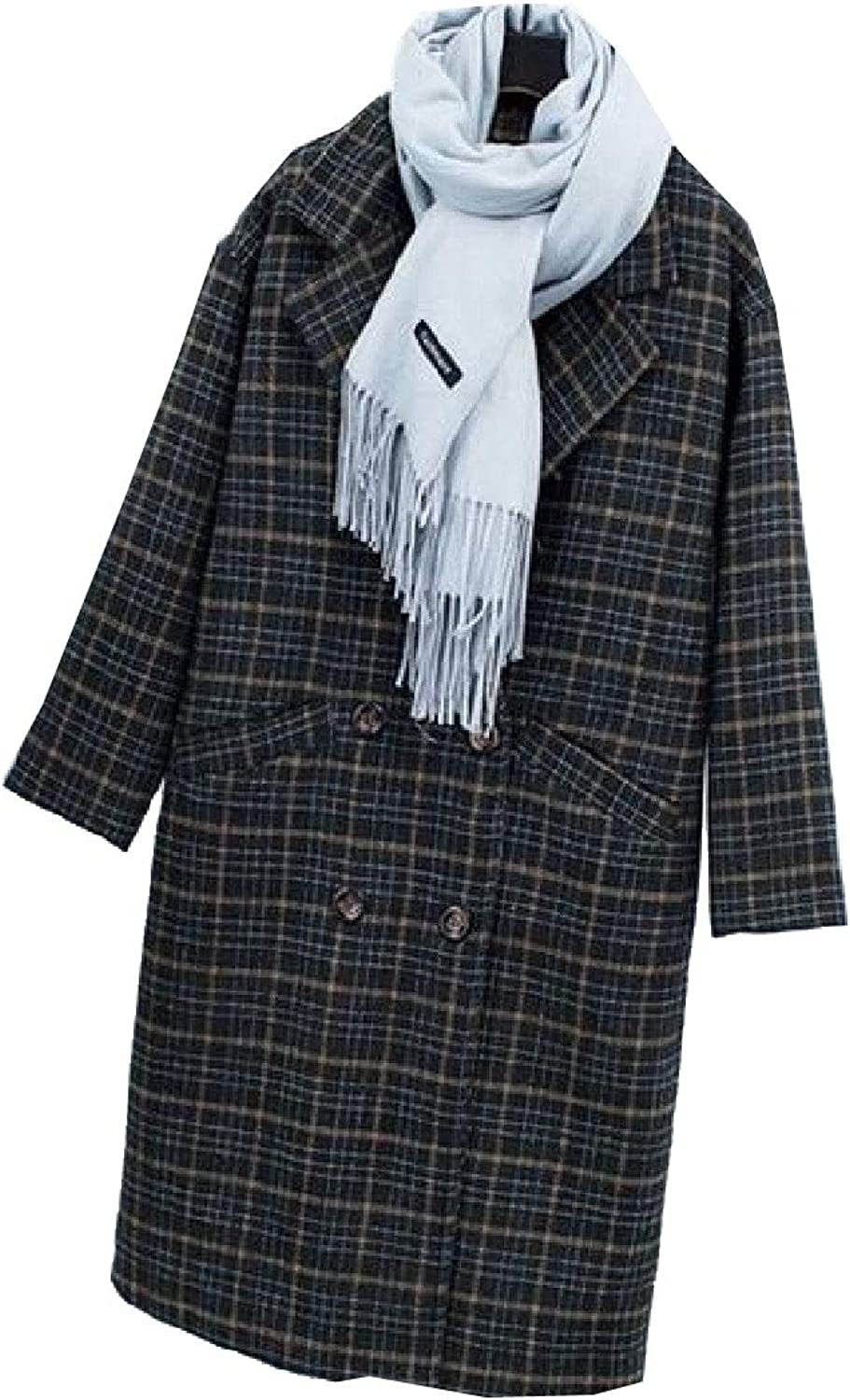 TaoNice Women's Plaid Double Breasted Baggy Mid Long Wool Trench Coat Jacket