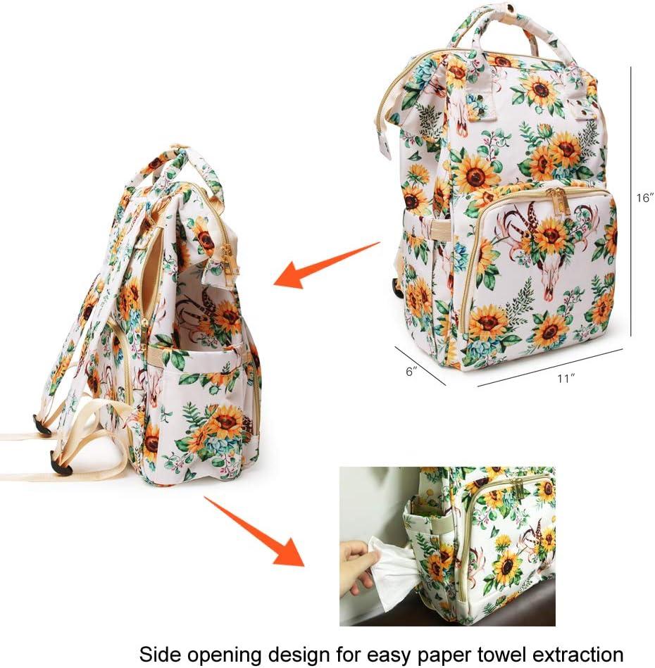 JIU HONG CHAO Sunflower Diaper Bag backpack Baby Stuff with Insulated Feeding Bottle Pockets (White sunflower), Bullflower, One Size(Regular)