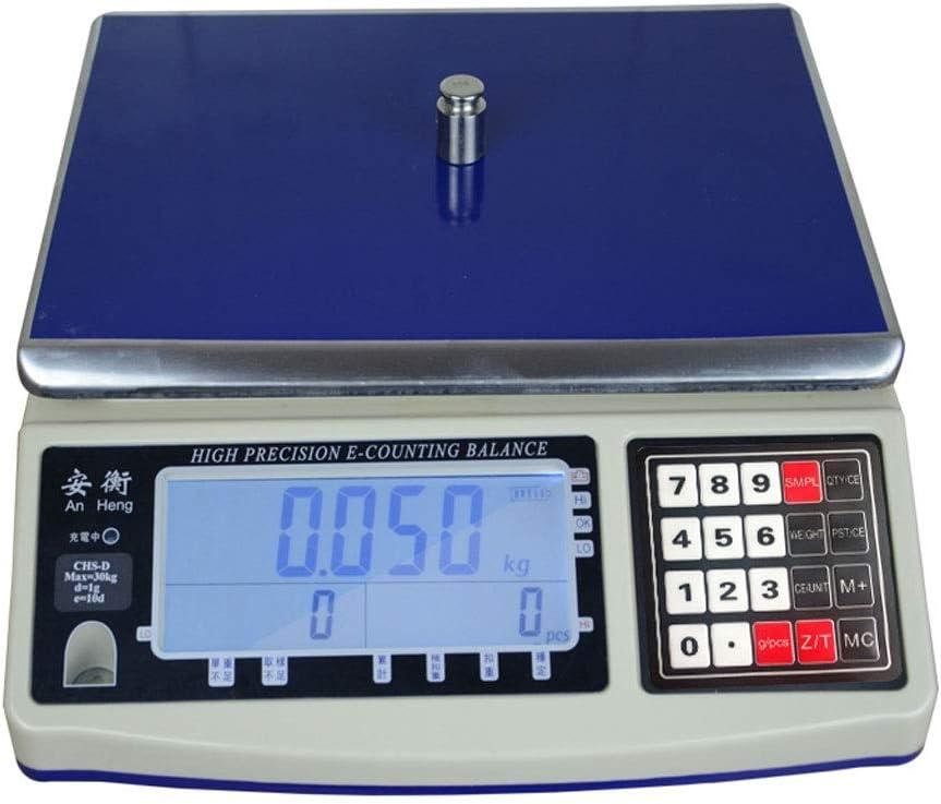 ZCXBHD Balanza Electrónica Digital Profesional - 30kg Alta Precisión Peso Industrial Comercial Tienda Balanza De Plataforma (Capacity : 30kg g)