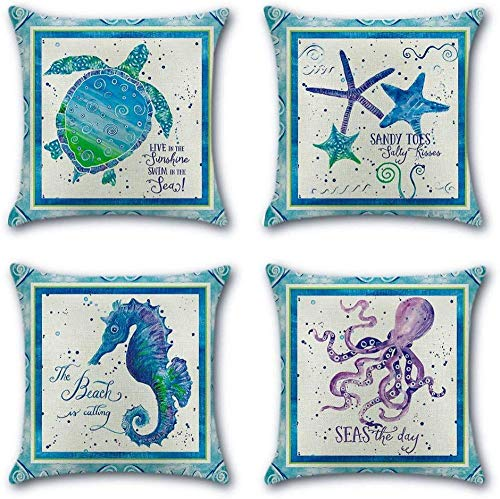 Pillowcases 4 Pack Cushions for Sofa Cotton Linen Throw Decorative Pillowcase Case for Sofa Car Bed Pillow 45 x 45cm-Sea life