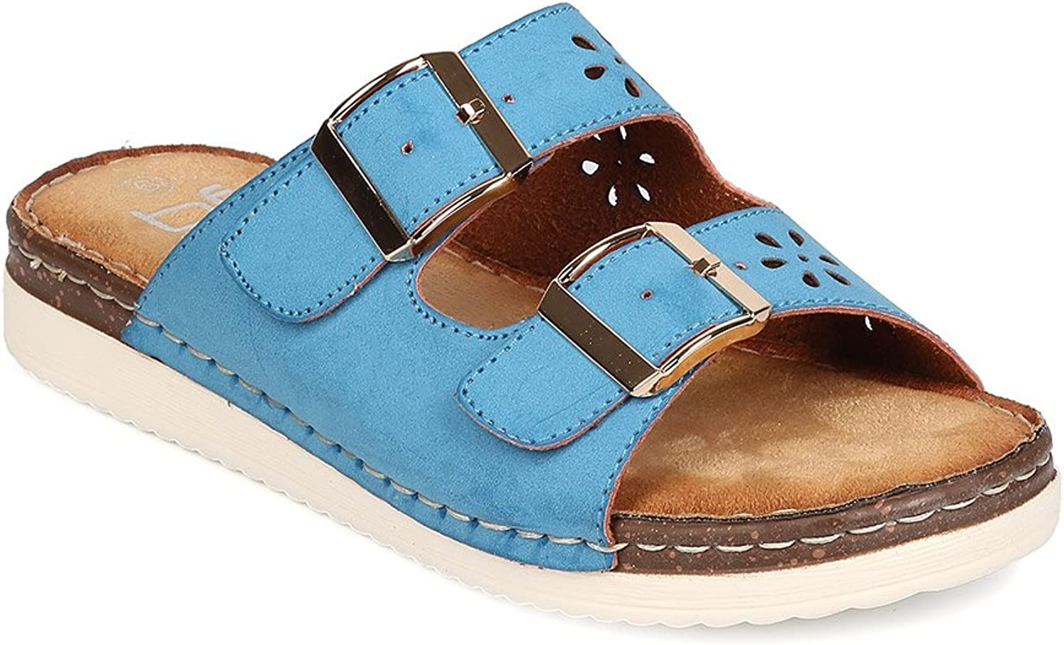 Women Leatherette Open Toe Double Buckle Perforated Sandal FJ67 - bluee