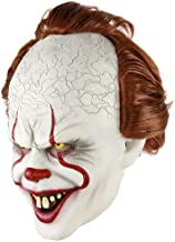 IT Pennywise Halloween Clown Mask 2019 Stephen King Movie Adult Horror Joker Full Face Costume Party Prop and Red Balloon