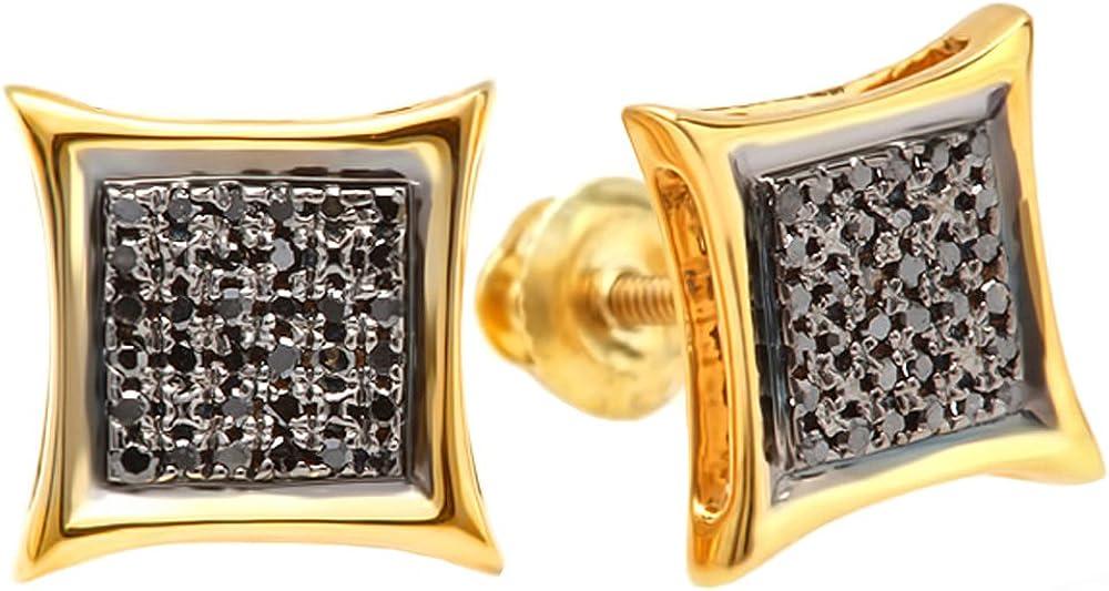 Dazzlingrock Collection 0.15 Carat (ctw) Black Round Diamond Micro Pave Setting Kite Shape Stud Earrings