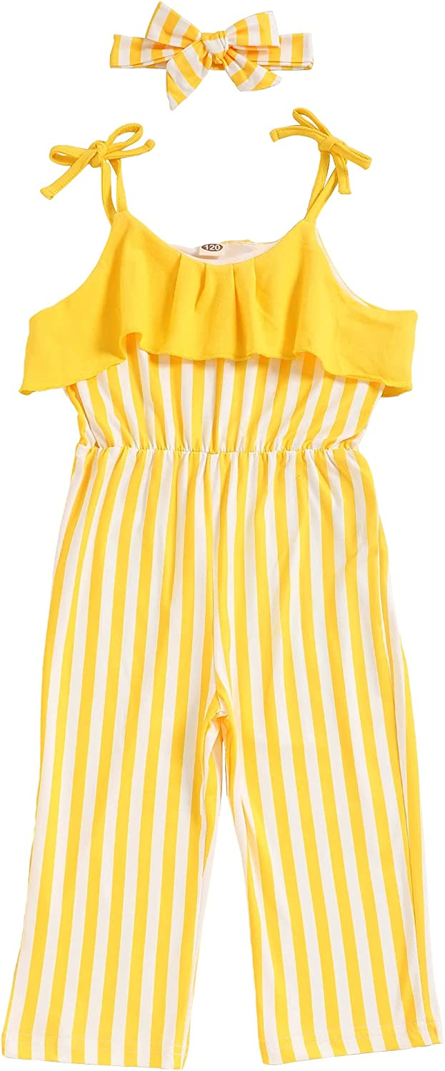 bilison Kids Baby Girl Romper Strap Striped Jumpsuit with Headband Toddler Summer Overall Clothes