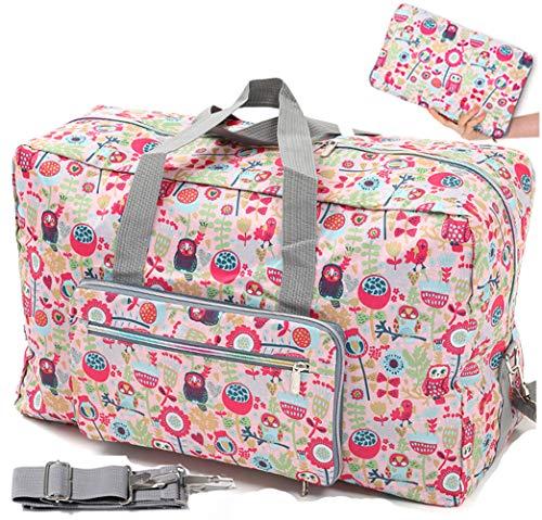Ladies Women Foldable Travel Duffle Bag - Cute Floral Weekender Overnight Carry-on Bag - Large Hospital Bag (Z-Owl)