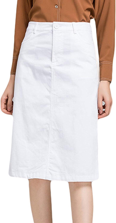 CHARTOU Women's Elegant High Waist Zip Fly Package Hip Work Wear Midi A-Line Skirt