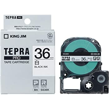 キングジム テープカートリッジ テプラPRO 36mm SS36K 白/黒文字