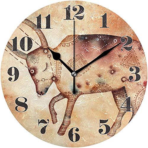 sam-shop Wanduhr, stille, Nicht tickende runde Sternbild-Stier-dekorative Kunst-Uhr für Wohnzimmer-Schlafzimmer-Büro
