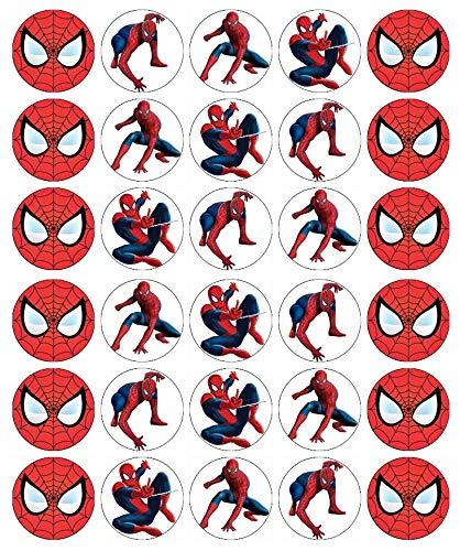 Spiderman Cupcake-Topper, essbares Oblatenpapier, Feen-Motiv, 30 Stück