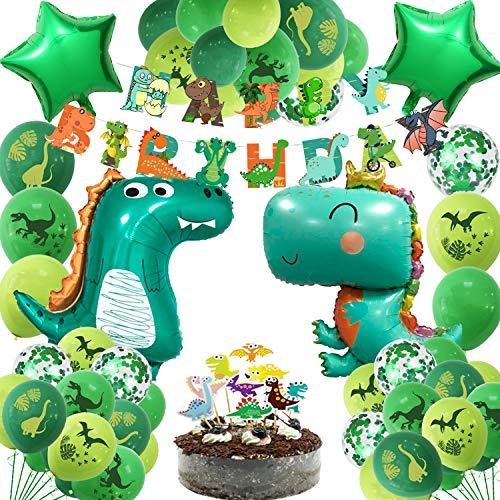 JoyBo Set Festa a Tema Dinosauro,Decorazioni Per Feste Con Palloncini di Dinosauro Includono Palloncini a Tema Dinosauro,Bandiere Per Torte, Striscioni e Palloncini in Alluminio a Forma di Dinosauro