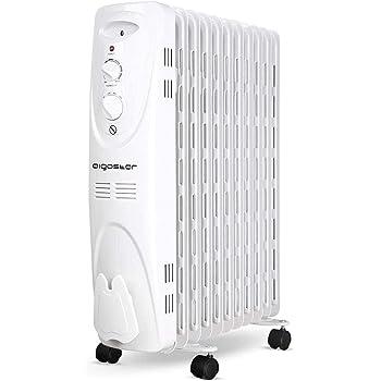 Aigostar Pangpang 33IEJ – Radiador de aceite de 11 elementos, 2300 Watios, dispone de 3 ajustes de potencia y control termostático de temperatura. Diseño exclusivo.: Amazon.es: Hogar