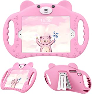 pzoz Case Compatible iPad Mini Case for Kids Shockproof Silicone Handle Stand Cover Compatible Apple iPad Mini 7.9 1 2 3 4 5 A1432 A1454 A1455 A1489 A1490 A1491 A1599 A1600 A1538 A1550 (Pink)