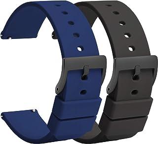 (2 pièces) TStrap Montre Bracelets Silicone 20mm - Bracelet de Montre à Dégagement Rapide Caoutchouc Noir Bleu Hommes Femm...