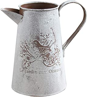 YOTHG Retro Garden Flower Pot Watering Can Shabby Vase Vintage Chic Flowers Vase Jar Pot Metal Flower Bucket Potted Plant Holder for Home Wedding Decoration (1pc,11x17x7cm)