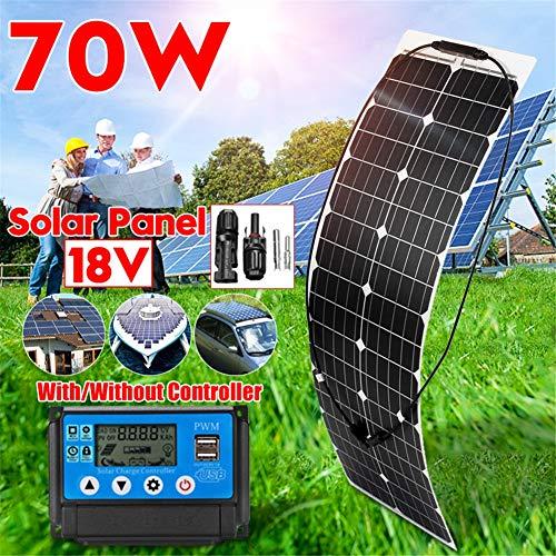 HMLIGHT 70 Watt 18 Volt Extrem Flexible Monokristalline Solarmodul - Ultra-leicht, Ultra dünne, bis zu 248-Grad-Bogen, für RV, Boote, Dächer, unebene Oberflächen