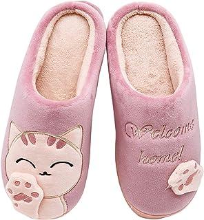 شباشب Viclowlpfe للنساء الفتيات، الشتاء الدافئ القطن المضادة للانزلاق أحذية داخلية مع القط لطيف أفخم تصميم للأطفال السيدات