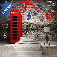 カスタム写真の壁紙3Dレンガの壁壁画電話ブース都市の建物レトロなポスターレストランカフェリビングルーム寝室の装飾, 250cm×175cm