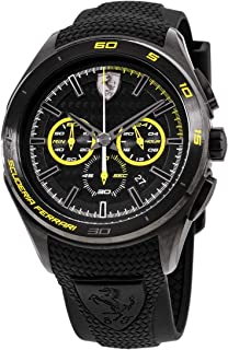 Ferrari Men's Quartz Stainless Steel and Silicone Watch, Color Black (Model: 830345)