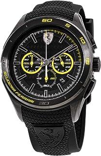 Ferrari Men's Quartz Stainless Steel and Silicone Watch, Color Black (Model: 830345)