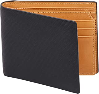 Men's Bifold Carbon Fiber Leather Wallet with RFID Blocking 2 Cash Compartment(Black+Yellow)