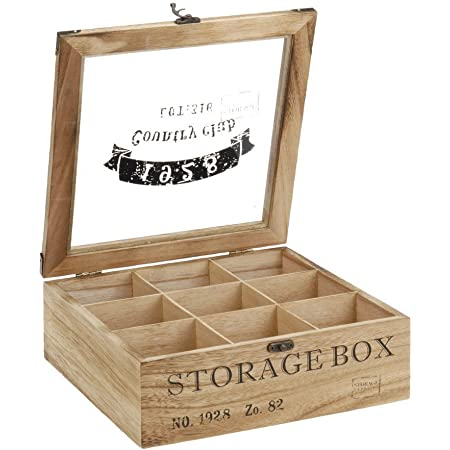 ToCi Boîte à thé en bois rectangulaire (6compartiments) ou carrée (9 compartiments) Style rétro, Bois, Modèle 2, 9 Fächer