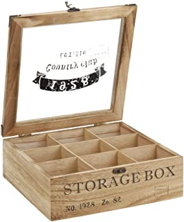 ToCi–Caja para té de madera en estilo rústico con 6o 9compartimentos Modell 2