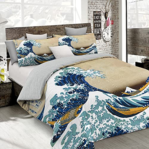 Italian Bed Linen Parure Copripiumino con Stampa Digitale a Copertura Totale Sul Sacco e Sulle Federe 2 Posti 100% Cotone, Multicolore (SD51), 250x200x1 cm
