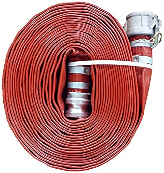 JGB Enterprises A008-0241-0100 Eagle Red PVC Discharge Hose 1-1/2  x 100  Type C and E Cam Locks Double Banded 150 psi Working Pressure -14 Degree F to 170 Degree F