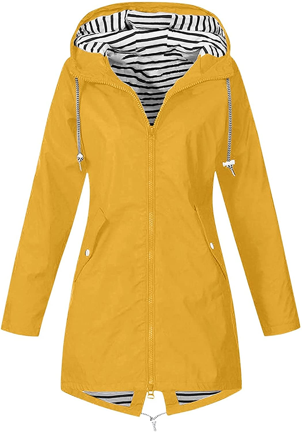 Women's Trench Coats,Women's Large Print Hooded Plus Size Raincoat Long Lined Waterproof and Windproof Outdoor Travel Jacket