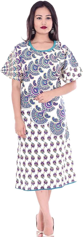 lakkar haveli Indian 100% Cotton Women Boho Long Dress Plus Size Mandala Print White Color
