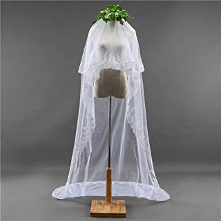 Wedding Veil,Bridal Veil White Soft Veil Elegant Long Section Small Sequined Lace Bridal Veil Double Layer with Metal Hair Comb