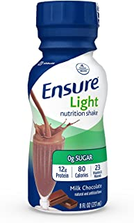 Ensure Light Nutrition Shake, 12g of high-quality protein, 0g Sugar, 2g Fat, Milk Chocolate, 8 fl oz, 24 Count