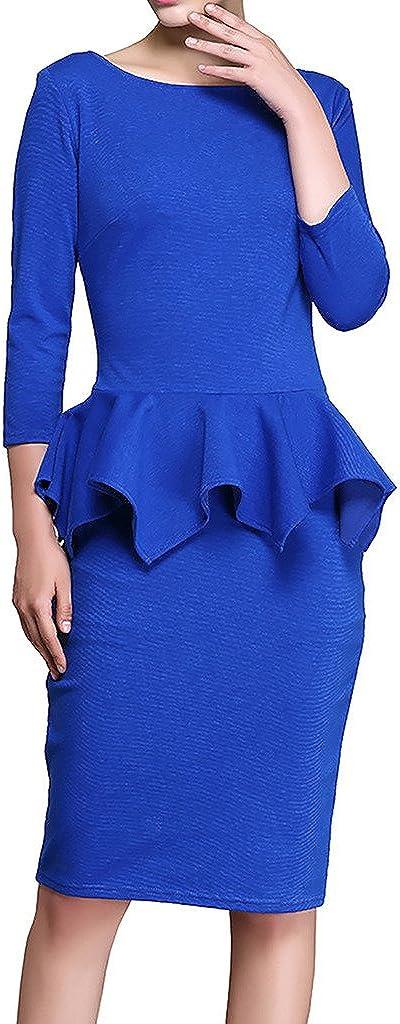 ZANLICE Women's Crew Neck 3/4 Sleeve Formal Ruffles Pencil Dress For XS S M L XL