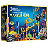 NATIONAL GEOGRAPHIC Glowing Marble Run – 115 Piece Construction Set with 25 Glow in The Dark Glass Marbles, Storage Bag, Great Creative STEM Toy for Girls and Boys