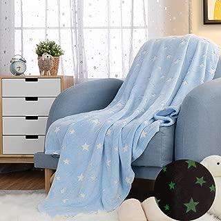 jinchan Flannel Throw Blanket Star Soft Blue Kids Lightweight Comfy Luminious Blanket Glow in The Dark Nursery Living Room Decor Four Seasons Birthday for Girls Boys Baby 50x60 Inch