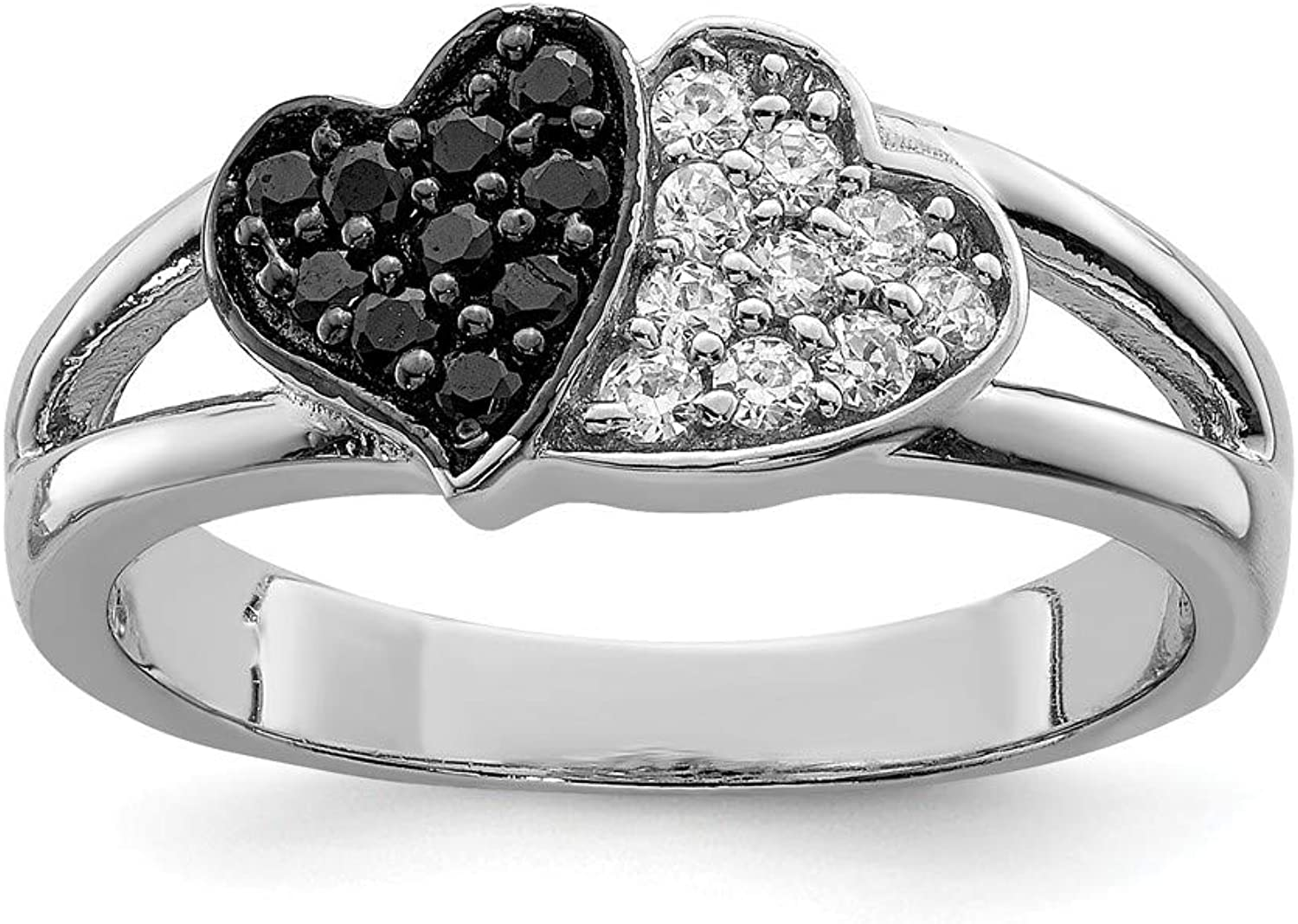 Beautiful Sterling silver 925 sterling Sterling Silver Rhodium Clear & Black CZ Hearts Ring