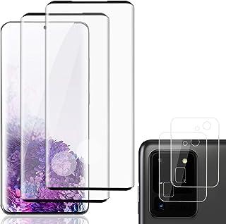 واقي شاشة شفاف فائق الدقة لهاتف Samsung Galaxy S20 + واقي شاشة لعدسات الكاميرا (2 عبوة) غطاء كامل منحني ثلاثي الأبعاد 9H و...