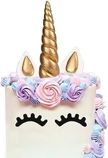 comprar comparacion Cake Topper, AIEX Oro Hecho a Mano Feliz Cumpleaños Pastel Decoración/Cumpleaños Cake toppers, Linda Unicornio Cuerno, Ore...