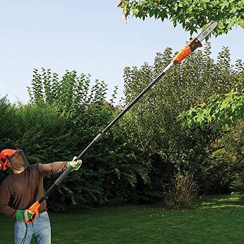 Black + Decker PS7525-GB Corded Pole Saw 800W 25cm, 800 W, 240 V, Orange