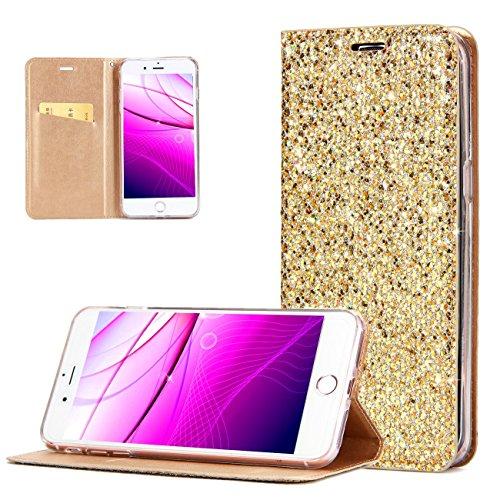 Preisvergleich Produktbild Hancda Hülle für iPhone SE / iPhone 5S / iPhone 5,  HandyHülle Flip Case Glitzer Leder Klapphülle Schutzhülle Cover Innere Transparent Silikonhülle für iPhone SE / iPhone 5S / iPhone 5, Gold
