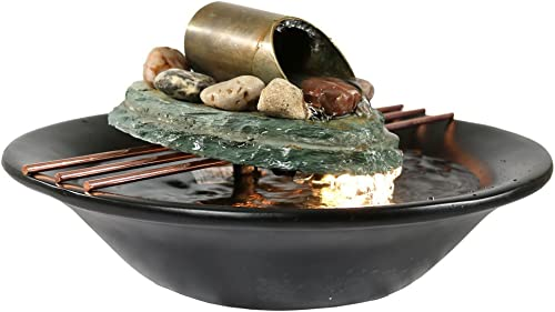 discount Sunnydaze Soothing Balance Slate Tabletop Water wholesale Fountain with LED Light - Peaceful and Calming Water Sound outlet online sale - Indoor Small Relaxation Waterfall Feature - 7-Inch outlet sale