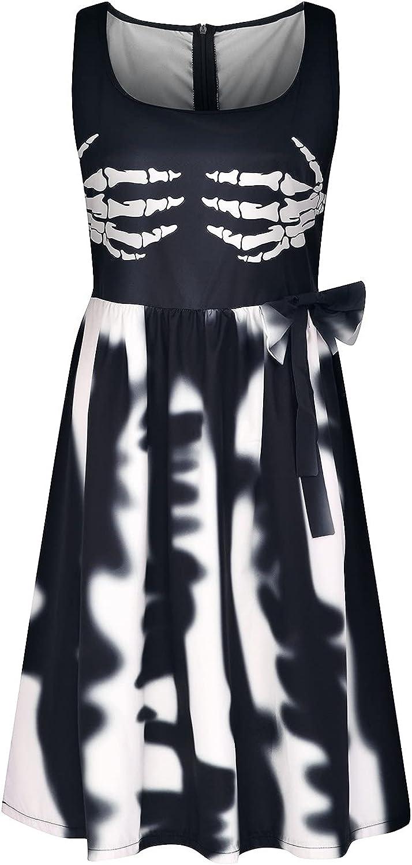 Wuztai Womens Summer Indefinitely Dresses Halloween Print Skeleton Dye U Tie Sales for sale