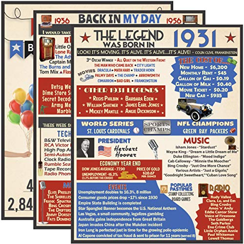 VAPARA DESIGNS 90th Birthday Decorations - 3 Pack of Fun, Artistic 11x14 Birthday Posters - 90th Birthday Gifts for Women and Men - 1931 Birthday Poster