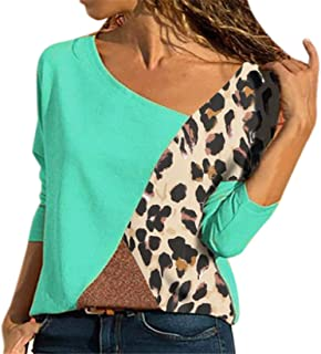 FRPE Women Contrast Casual Long Sleeve Patchwork Crewneck T-Shirt Blouse Top