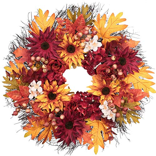 Beautiful 24 inch Fall Wreath, can be used outdoors or indoors.