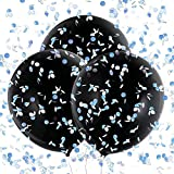 Konsait 3 Piezas 36 Globos de Látex Negro Confetti Globos Gigantes para Fiestas niño or niña Baby Shower Decoracion Cumpleaños género Revela, con Confeti Rosa, Azul y Colores