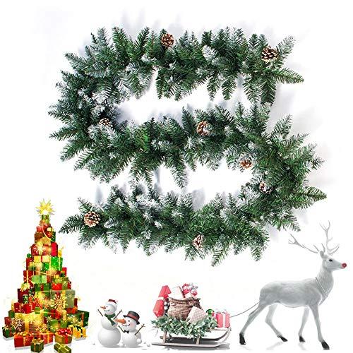 RecoverLOVE 9 Foot Christmas Garland, 2020 Christmas Cedar Rattan with Pine Cones ▏Christmas Home Decoration wreath for Wall Door Window