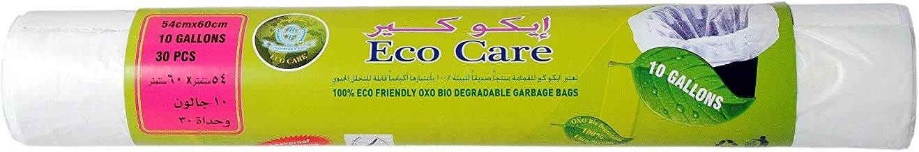 Eco Care White Garbage Bag Roll - 30 Count, 10 Gallons, 54x60cm